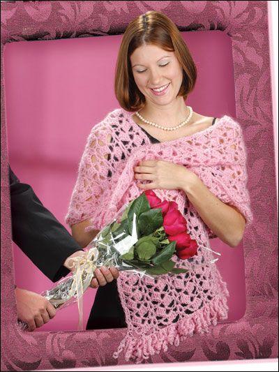 Crochet - Crochet Shrugs, Wraps & Shawls Patterns - Pretty in Pink Stole