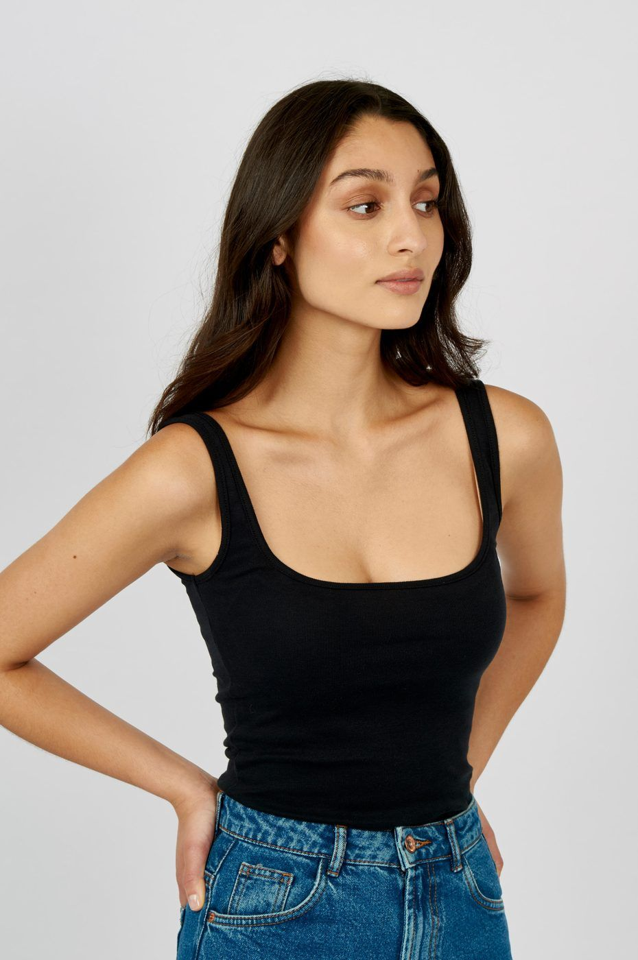 Free People Womens Cotton Square Neck Crop Top