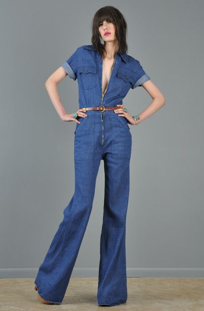 94e21e775c6 Denim jumpsuits...hot 70 s style of course I was only 10 and it was zipped  up all the way . Lol
