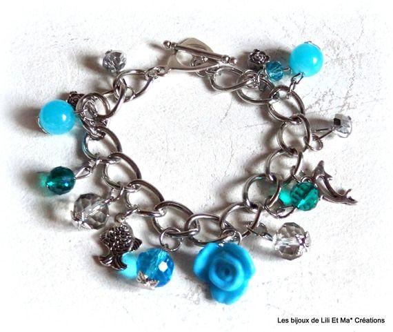 Lili Et Ma* Créations, bracelet chaîne breloques, perles bleues 18cm