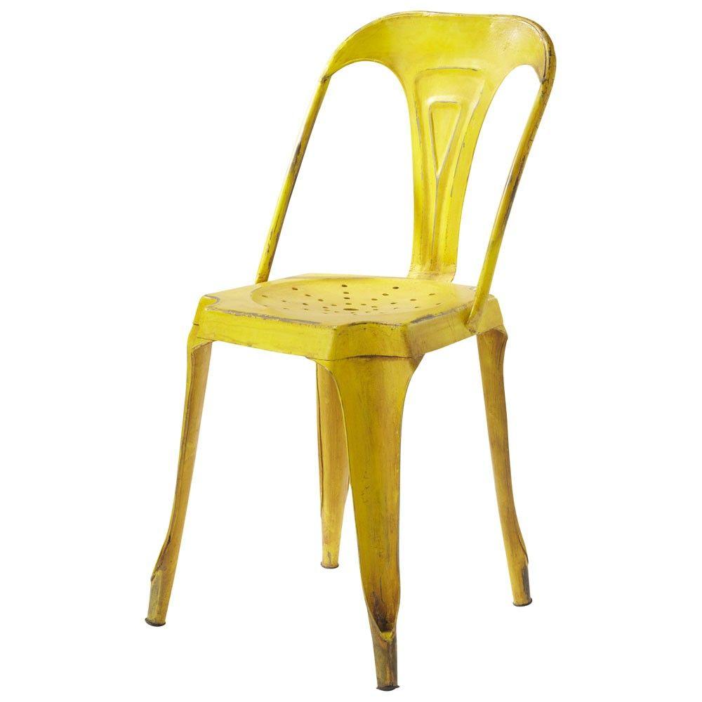 chaise indus en m tal jaune industrial desks and living rooms. Black Bedroom Furniture Sets. Home Design Ideas