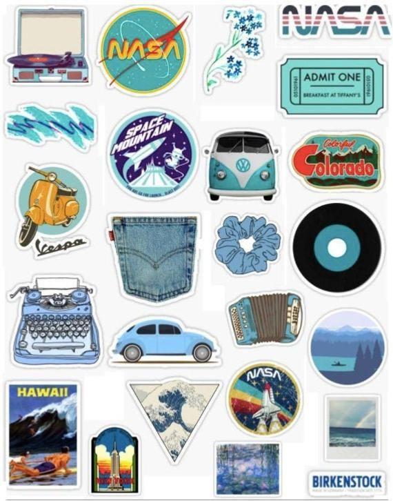 24 Vsco Aesthetic Blue Sticker Pack Aesthetic Stickers Iphone Case Stickers Iphone Stickers