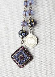 Vintage Sapphire Diamond Shaped Pendant with Matching Bronze and Light Sapphire Beaded Love Strand