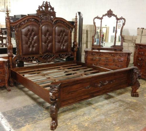 Heavily Carved King Size Lion Bed One Of A Kind 7 Headboard Matches Throne Bed Frame Design Bed Bed Furniture
