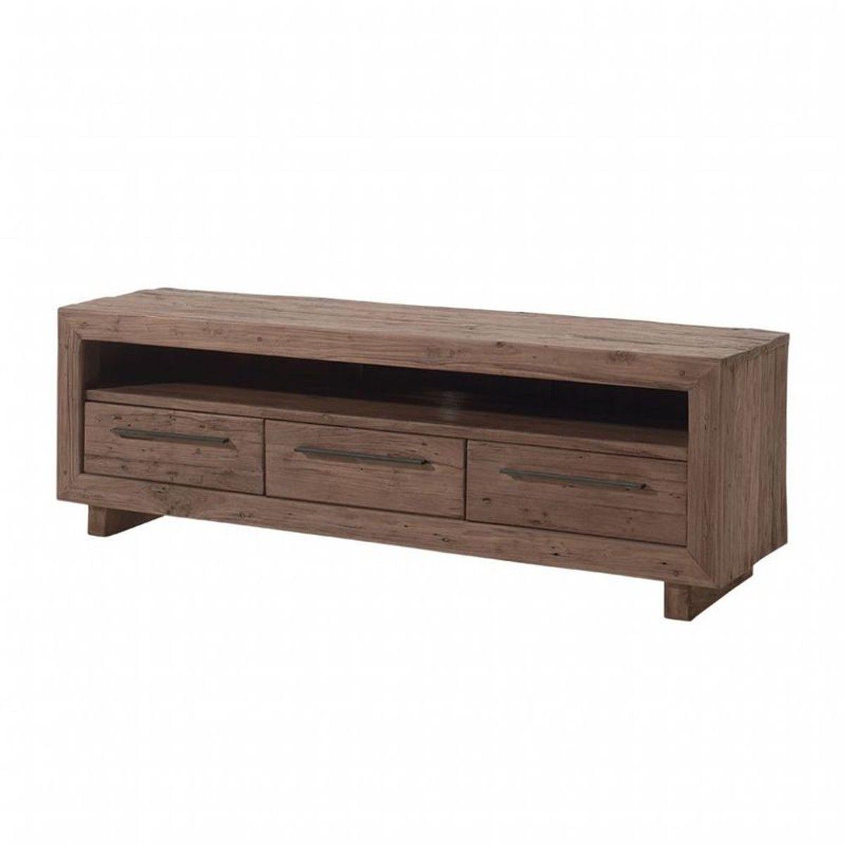 Meuble Tv Grande Taille meuble tv 160cm teck massif naturel 3 tiroirs 1 niche style