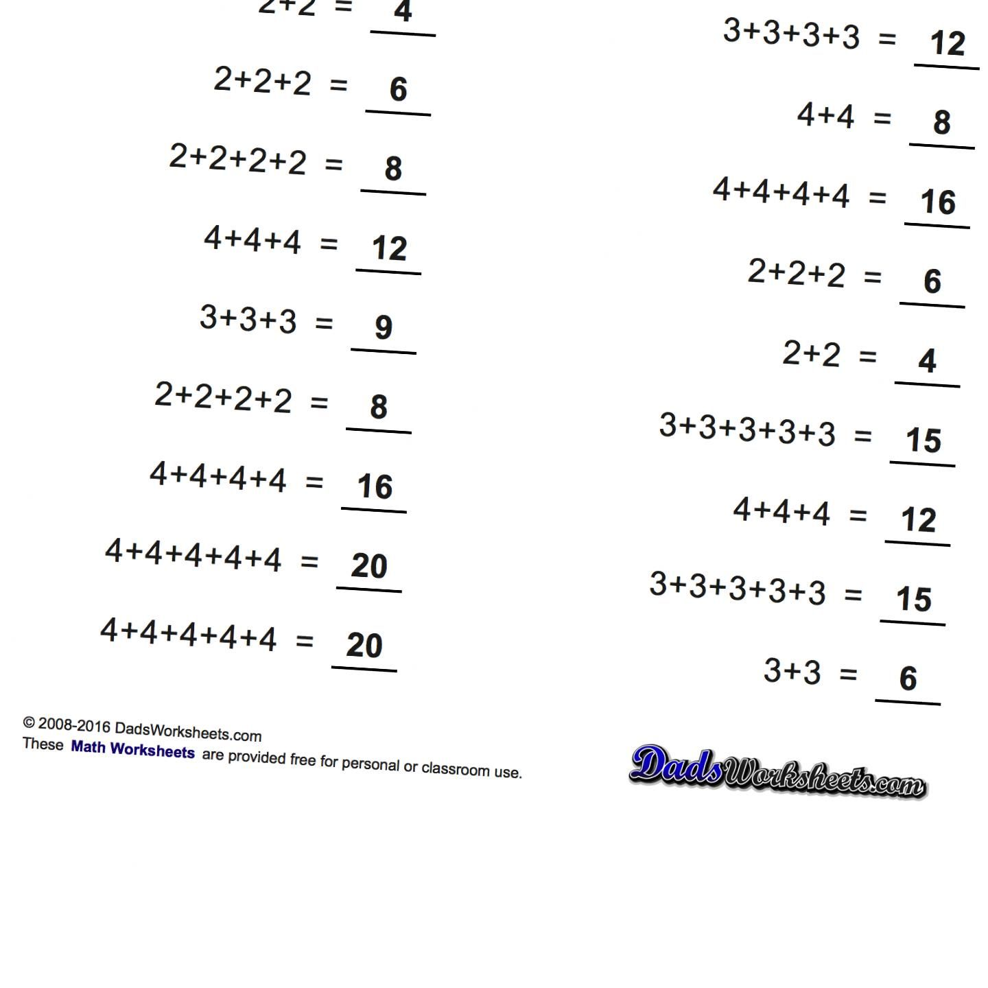 Addition Worksheets That Introduce Multiples And Skip