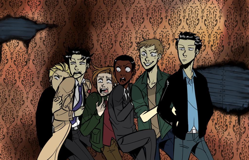 Angels in a Haunted House by Konoira.deviantart.com on @DeviantArt ~  Balthazar, Gabriel, Lucifer, Michael, Raphael, Uriel, Castiel