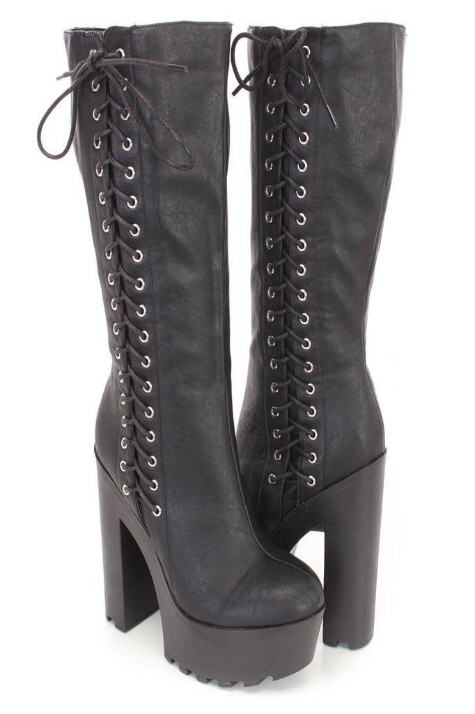 e5ae885fd714 Gothic Punk Rock Side Lace-up Lug Sole Chunky High Heel Platform Black Knee  High Boots