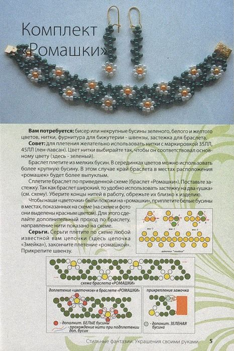 Netted necklace with daisies