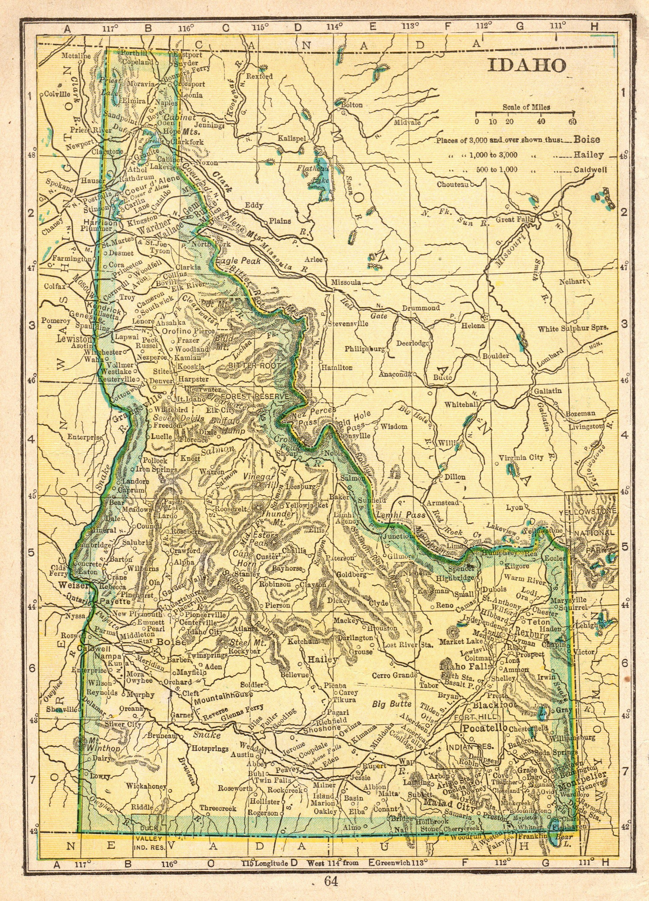 1912 Antique IDAHO Map of Idaho State Map Print Vintage Small Map ...