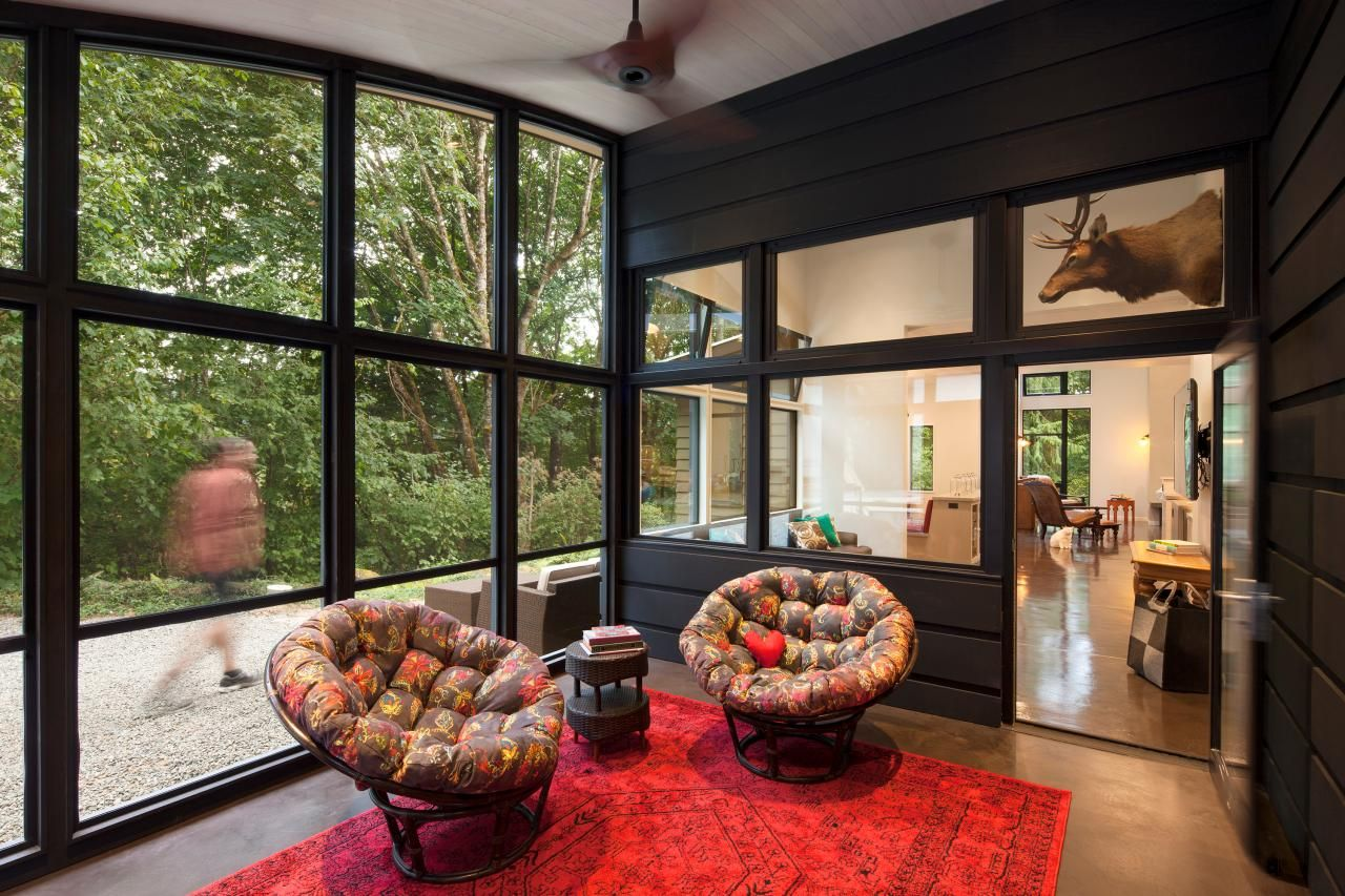 Window ideas for a sunroom  find the best of heather washburn from hgtv  black sunroom