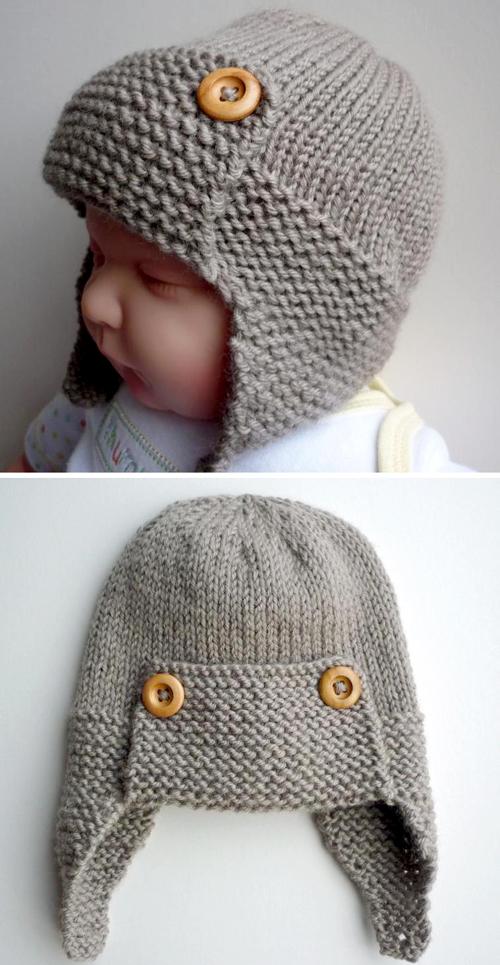 Baby Aviator Hat - Knitting Pattern in 2020   Baby hat ...