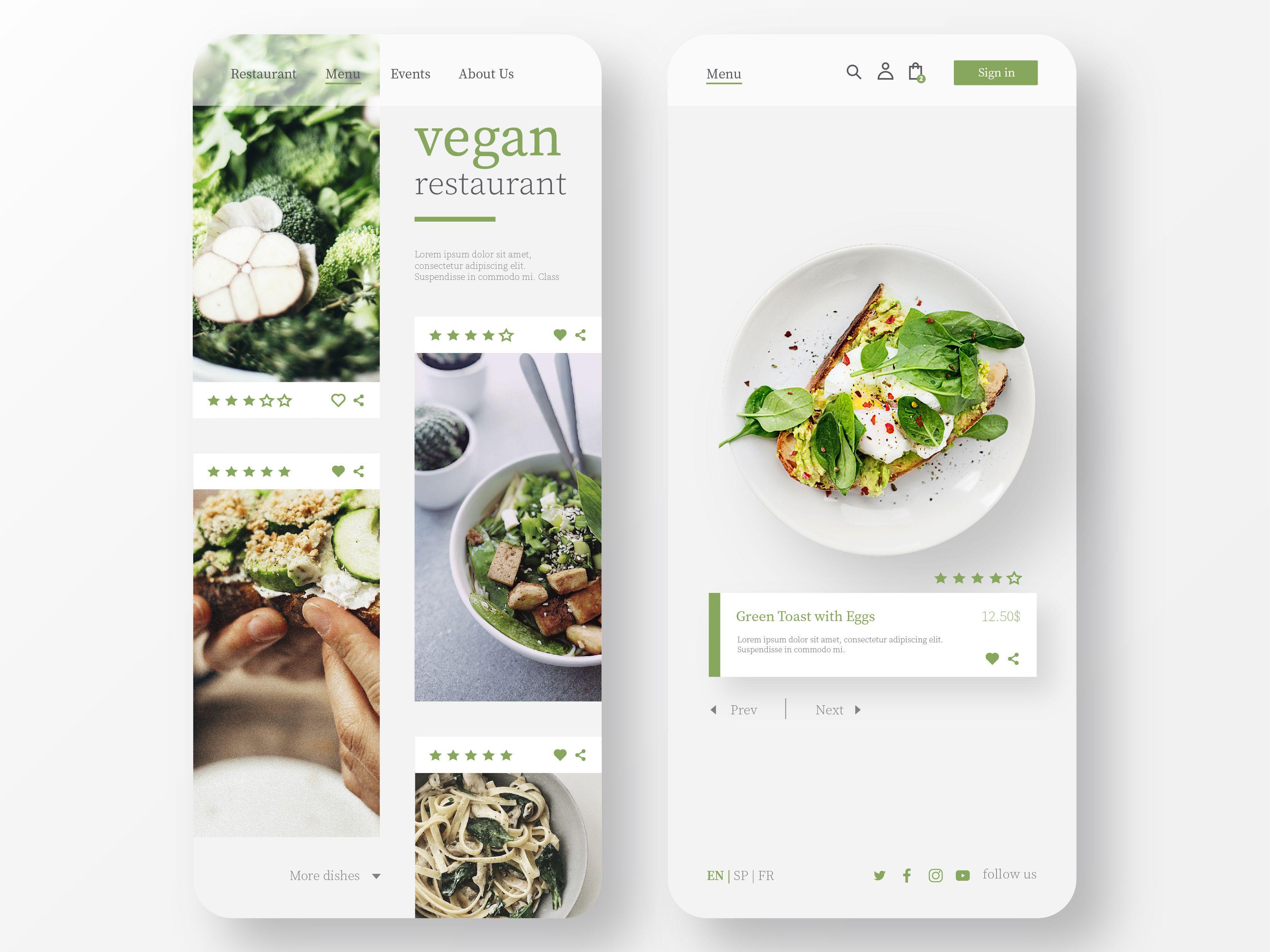 Vegan Restaurant App Design Food Web Design Vegan Design Vegan Restaurants