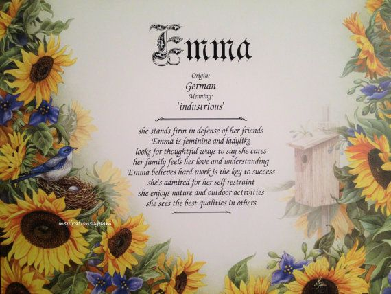 NAME MEANING PRINT Personalised Birthday Mothers Day Gift Mum Sister Sunflowers