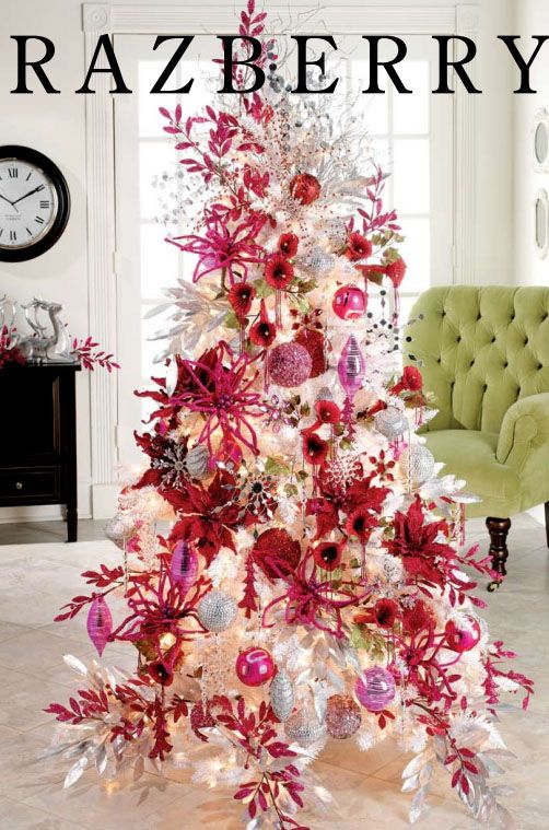 Christmas Decorations Theme hot pink and white christmas tree theme | christmas tree