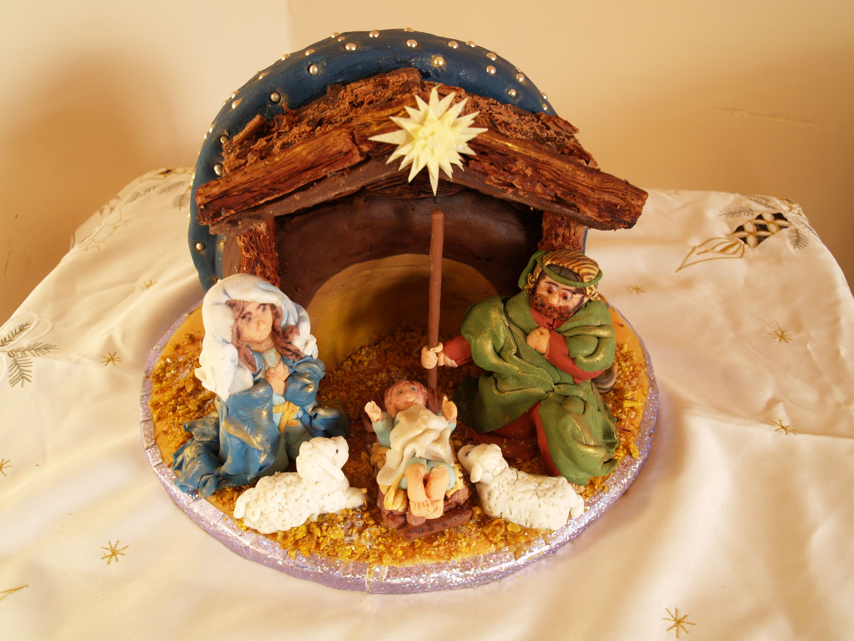 Nativity Scene Crib Made With Two Cakes And 5 3d Figures All Made Of Sugarpaste Chocolate Base Was Made With A Mixtu Christmas Cake Nativity Nativity Scene