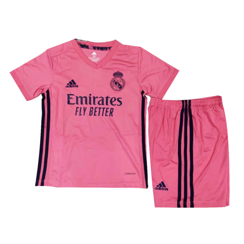 20 21 Real Madrid Away Pink Children S Jerseys Kit Shirt Short Cheap Soccer Jerseys Shop In 2020 Team Badge Shirts Pink Kids