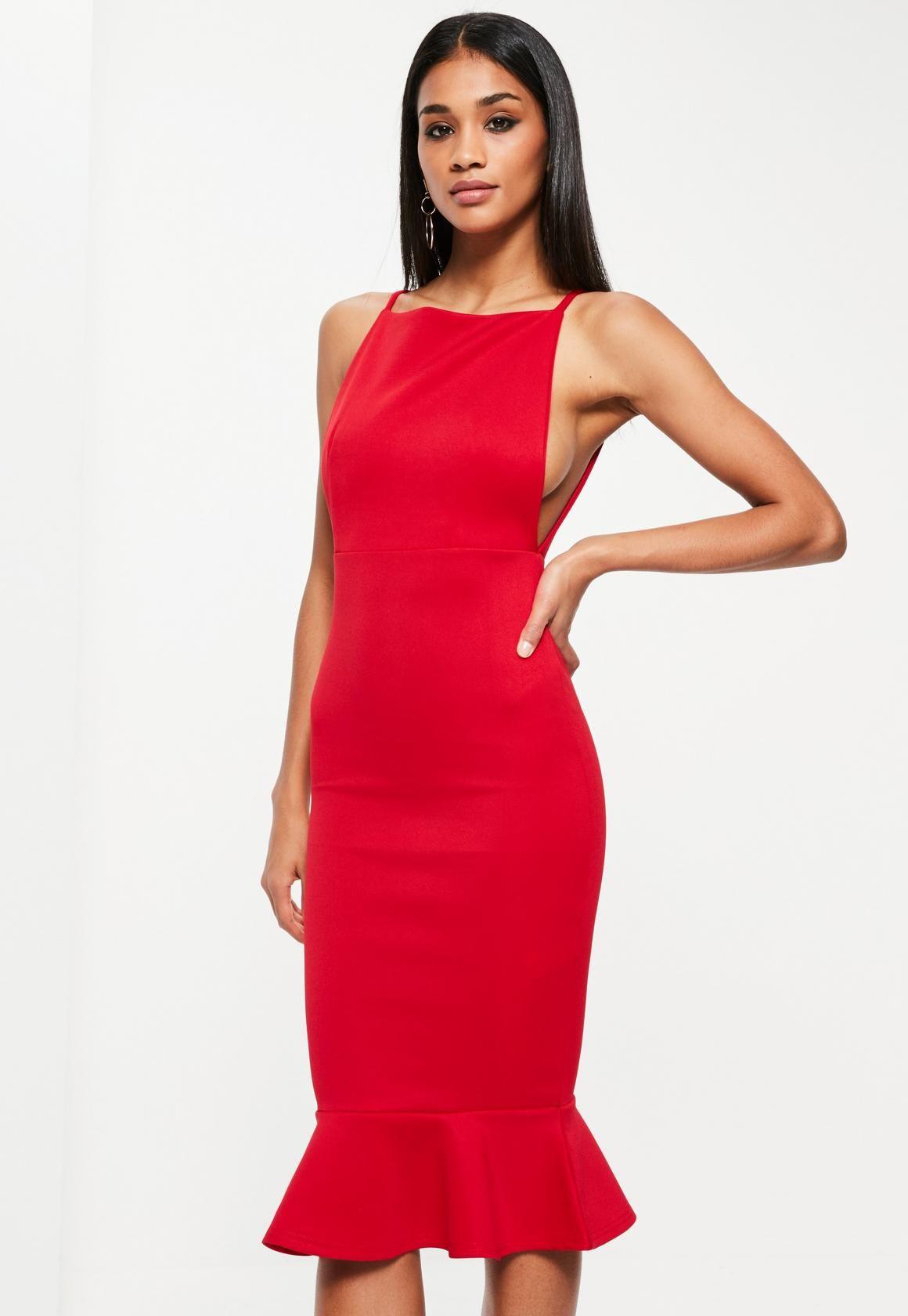 28391862cdc0 Missguided - Red Scuba Square Neck Frill Hem Midi Dress | fsh | Red ...