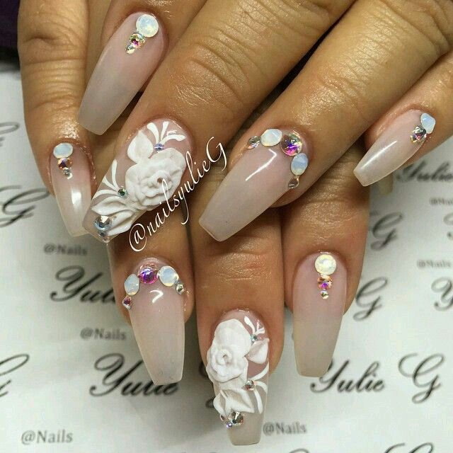 nude coffin nails with 3d flowers