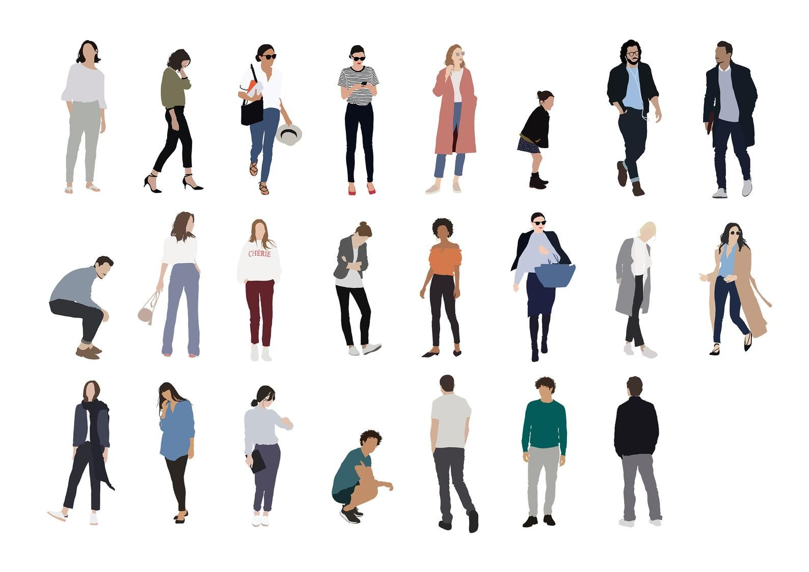 23 People Package Vector Clipart Png Ai Human Person Illustration Woman Man Child In 2020 People Cutout People Illustration People Png