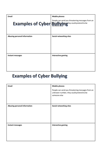 cyber bullying worksheet internet safety pinterest bullying worksheets cyber bullying and. Black Bedroom Furniture Sets. Home Design Ideas