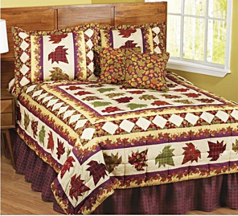 Details about AUTUMN FALL LEAVES Cabin Decor Patchwork 6pc