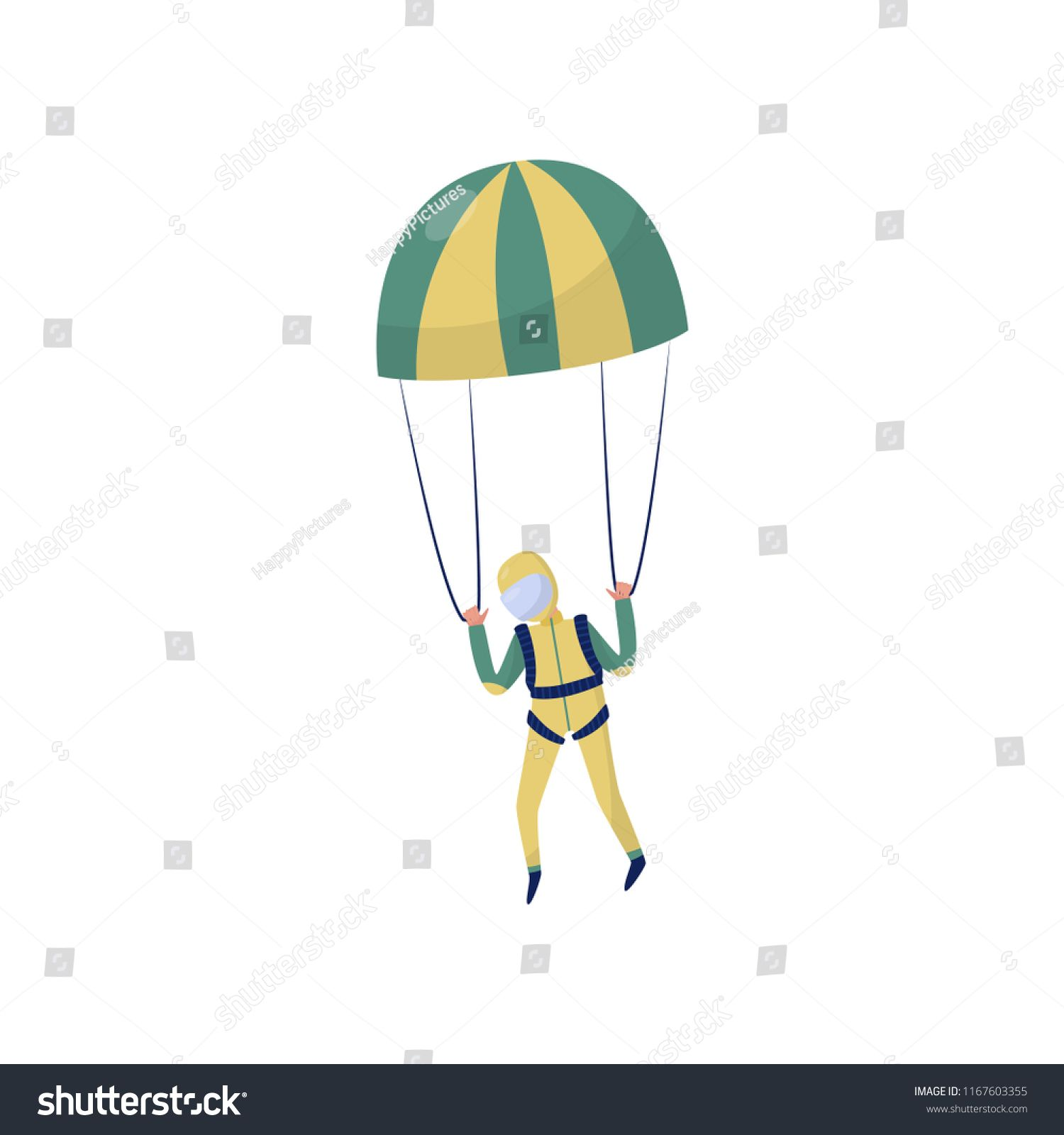 Professional Skydiver Flying With Parachute Extreme Sport Cartoon Character In Yellow Suit And Protective He Extreme Sports Presentation Design Vector Design