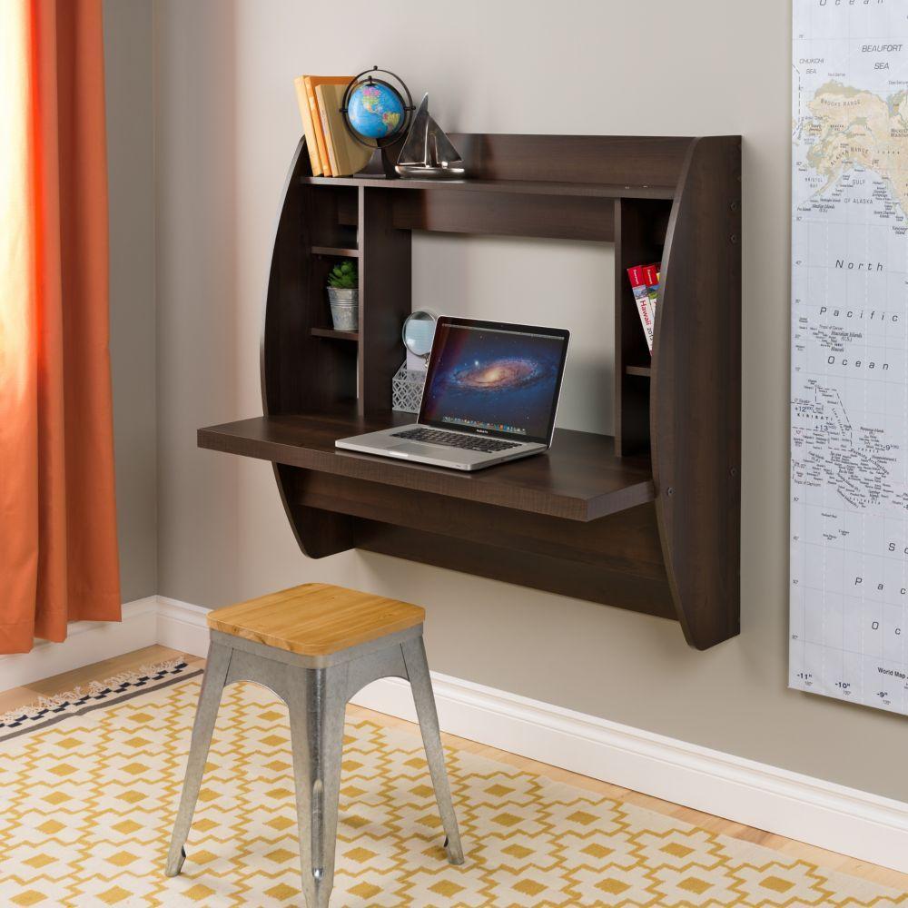 Floating Wall Mounted Desk With Storage In Espresso Muebles Para Computadora Muebles Para Pc Muebles Para Pantallas