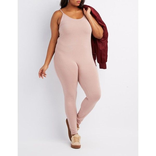 Charlotte Russe Bodycon Jumpsuit ($20) ❤ liked on Polyvore featuring plus size women's fashion, plus size clothing, plus size jumpsuits, woodrose