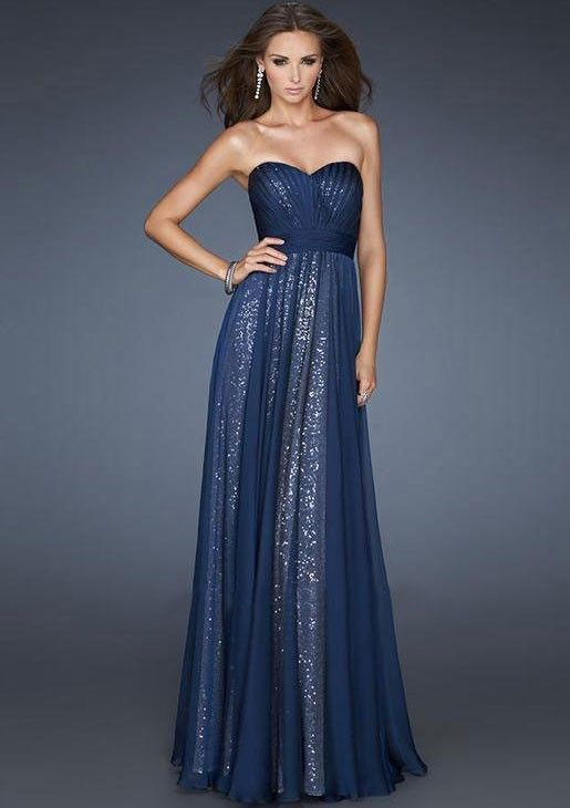 A-line Stroppeløs Sequin Chiffon Prom Dresses