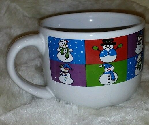 SNOWMAN MULBERRY HOME COLLECTION WINTER HOLIDAY COFFE MUG CUP COLORFUL BLOCKS