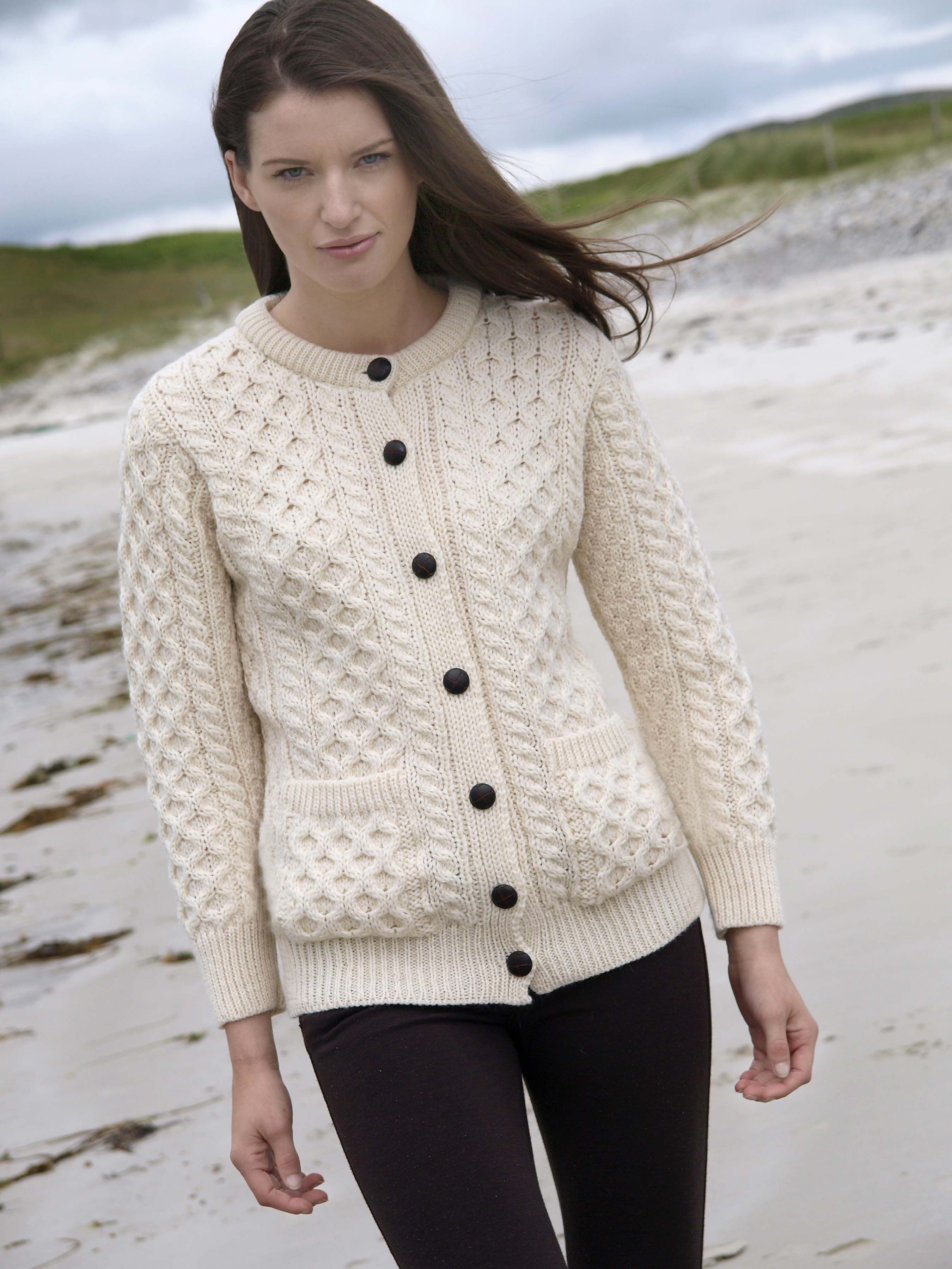 ced820b27 TRADITIONAL IRISH BUTTONED KNITTED LUMBER CARDIGAN Made from 100 ...