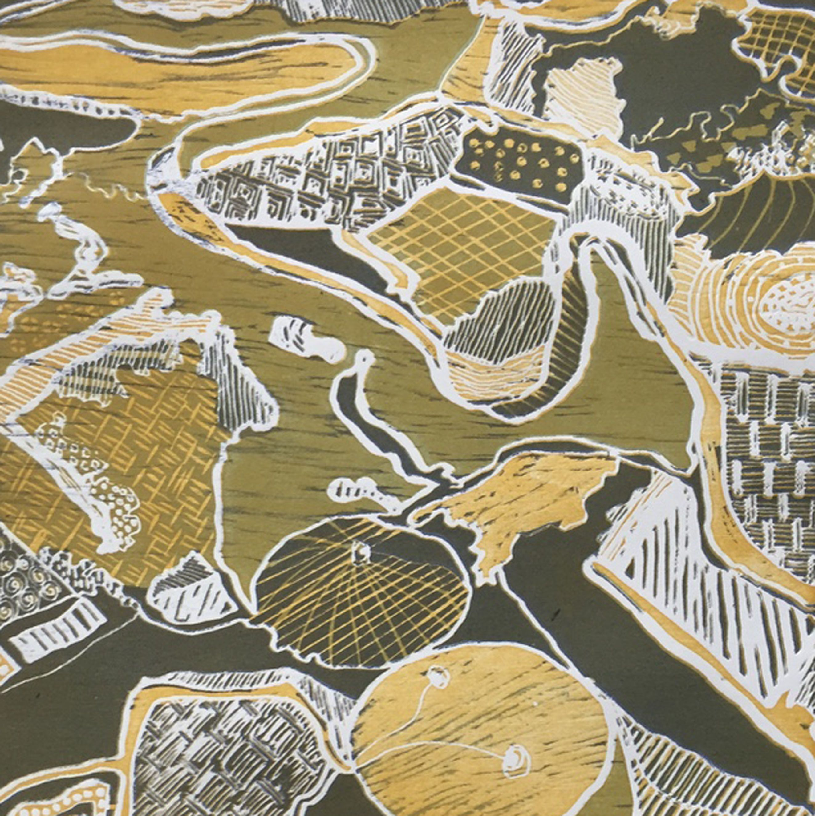Anatolia A New 3 Color Woodblock Print That Is Based On An Aerial View I Took In Turkey