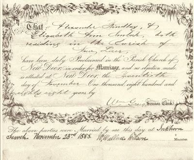 Wedding Wednesday~ Elizabeth And Alexander 1888 #geneabloggers #genealogy