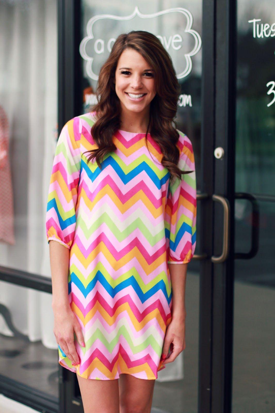 Chevron Pink Multi Shift Dress