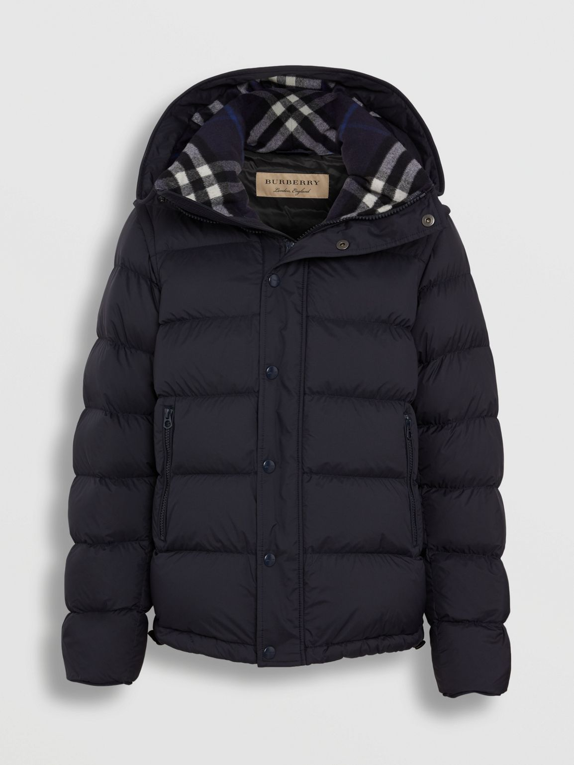 Detachable Sleeve Down Filled Hooded Puffer Jacket In Navy Men Burberry United States Cell Image 3 Down Coat Mens Coats Jackets [ 1538 x 1154 Pixel ]