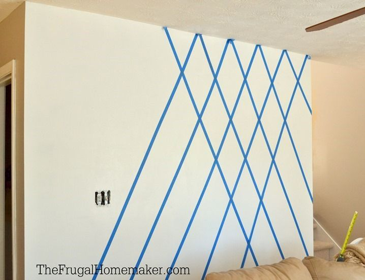 Paint Designs On Walls With Tape Here S The Wall Completely Taped Off And Ready For My Main Wall Paint Designs