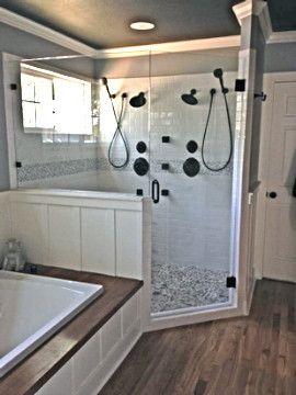 Spacious Custom Shower With Frameless Glass Door Farmhouse