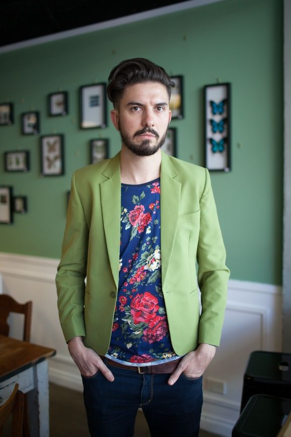 Hairdresser Adam Darrie so refreshing in bold floral shirt and green jacket. Photo by Sia Duff, Rundle Street.