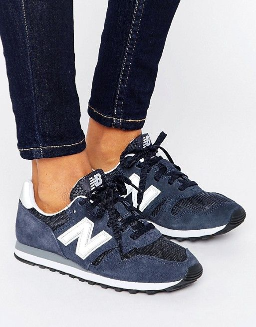 New Balance 410 NavyWhite Trainers With Check Trim | ASOS