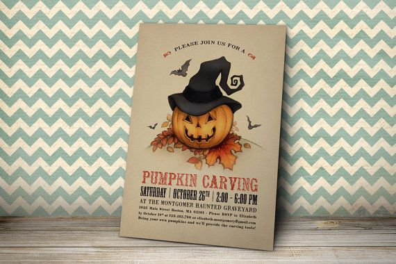 Printable Halloween Invitation - Printable Pumpkin Carving Invitation - Jack 'o Lantern with Witch Hat