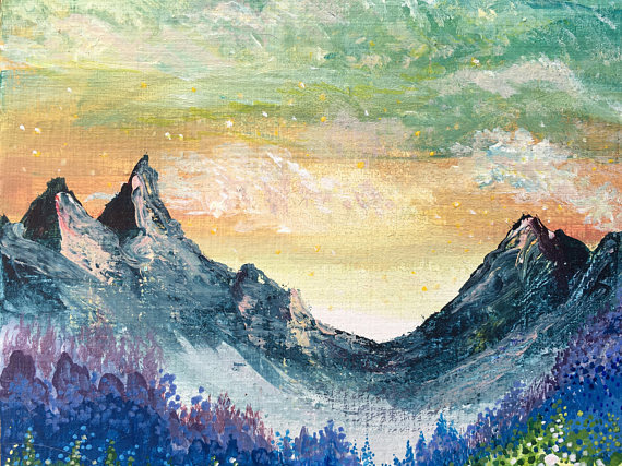 Rainbow Landscape Painting Dot Painting Original In 2019 Products