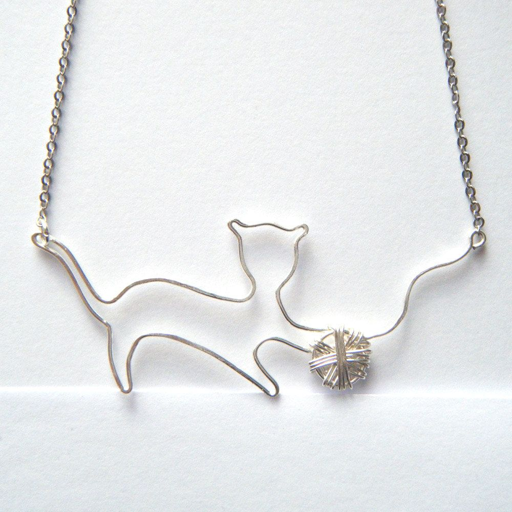 Cat necklace pet lover jewelry silver cat pendant kitten cat silver necklace silver cat pendant silver kitten necklace handcrafted wire work pendant mozeypictures Image collections