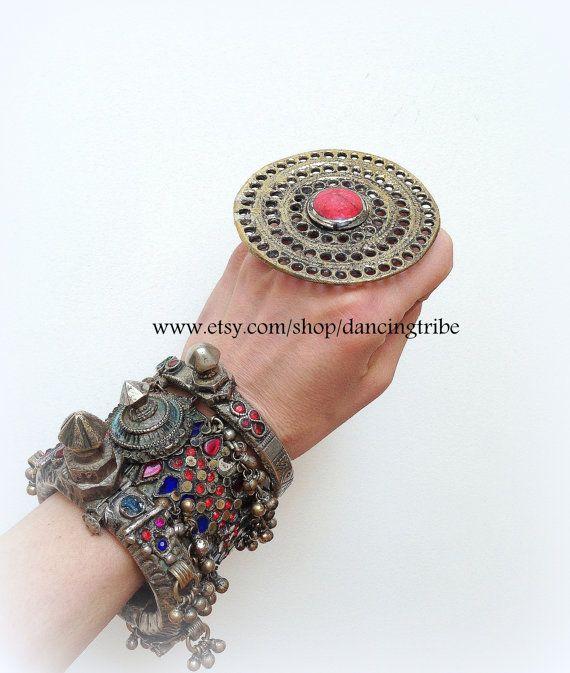 Tribal Ring Shield Ring Kuchi Ring Ethnic Ring by DancingTribe, $20.00