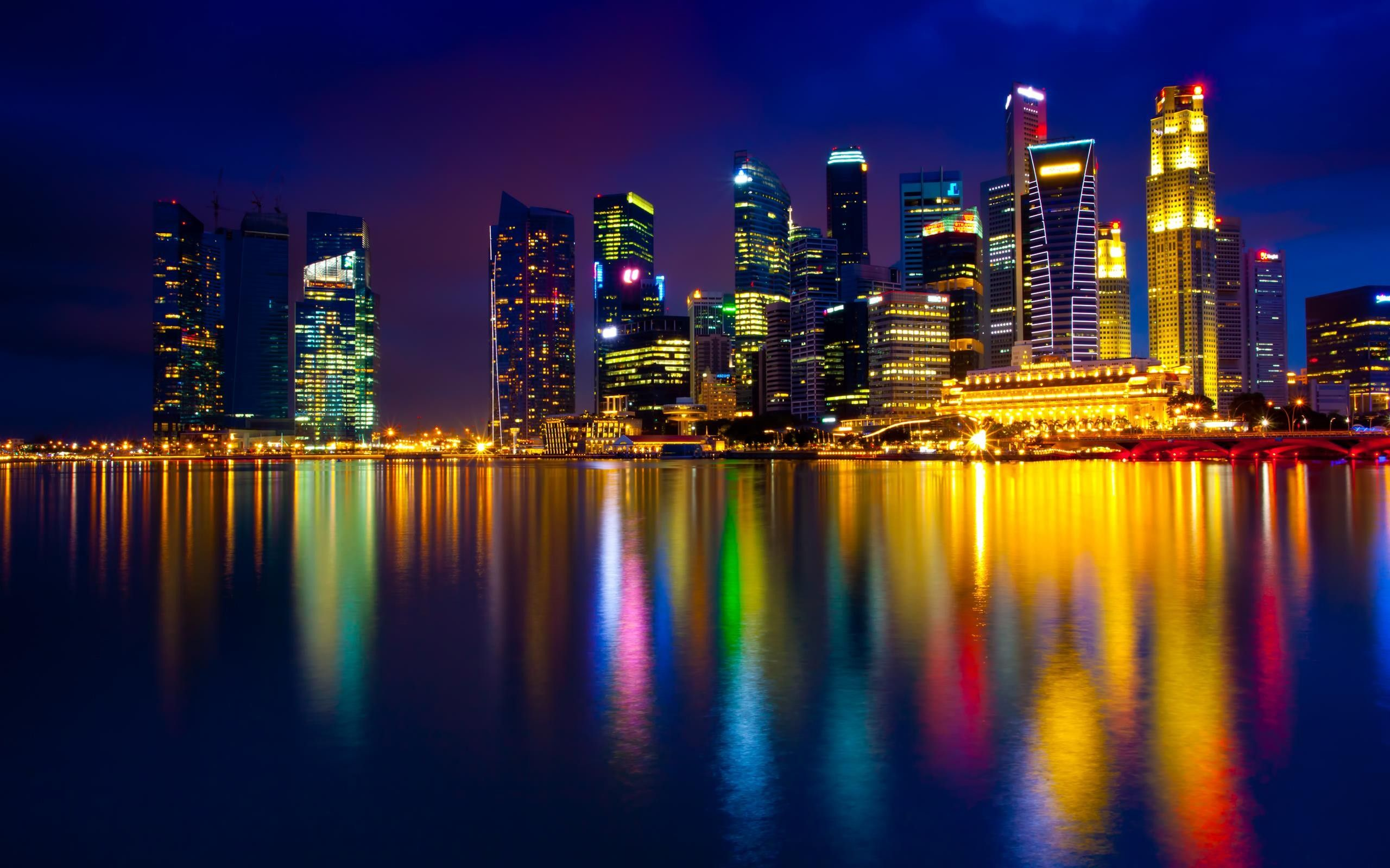 Singapore Night Colorful With Images Singapore City