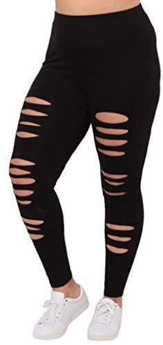 Photo of Mikey Store Womens Hole Pants Yoga Sport Leggings Plus Size Workout Fitness Trousers