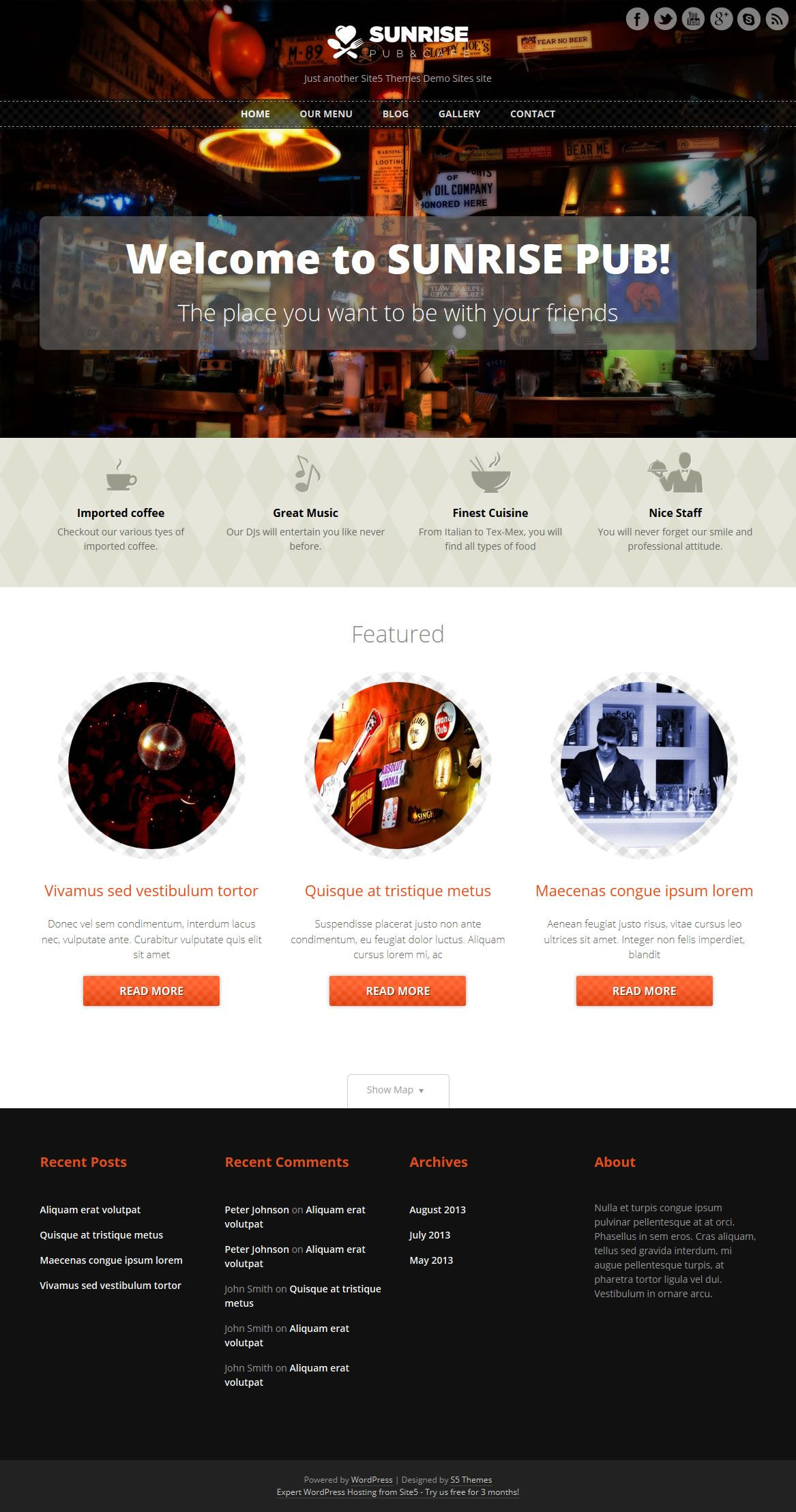 Sunrise Wordpress Theme for bars and pubs - Download it for free ...