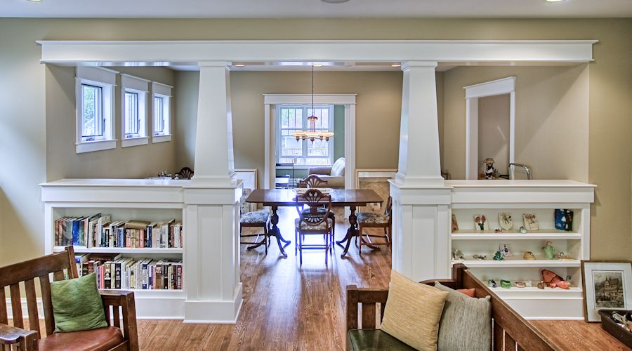 amusing living room half wall | Half wall with columns and built-in- for the kitchen ...
