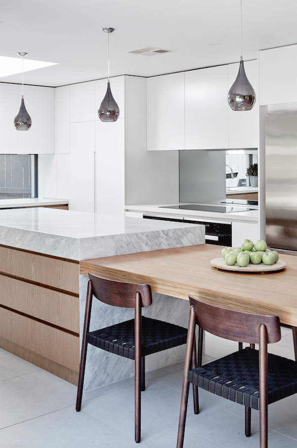 The Designory North Bondi House Featuring Custom Kitchen Joinery With Integrated Dinin Kitchen Island Dining Table Modern Kitchen Island Modern Kitchen Design
