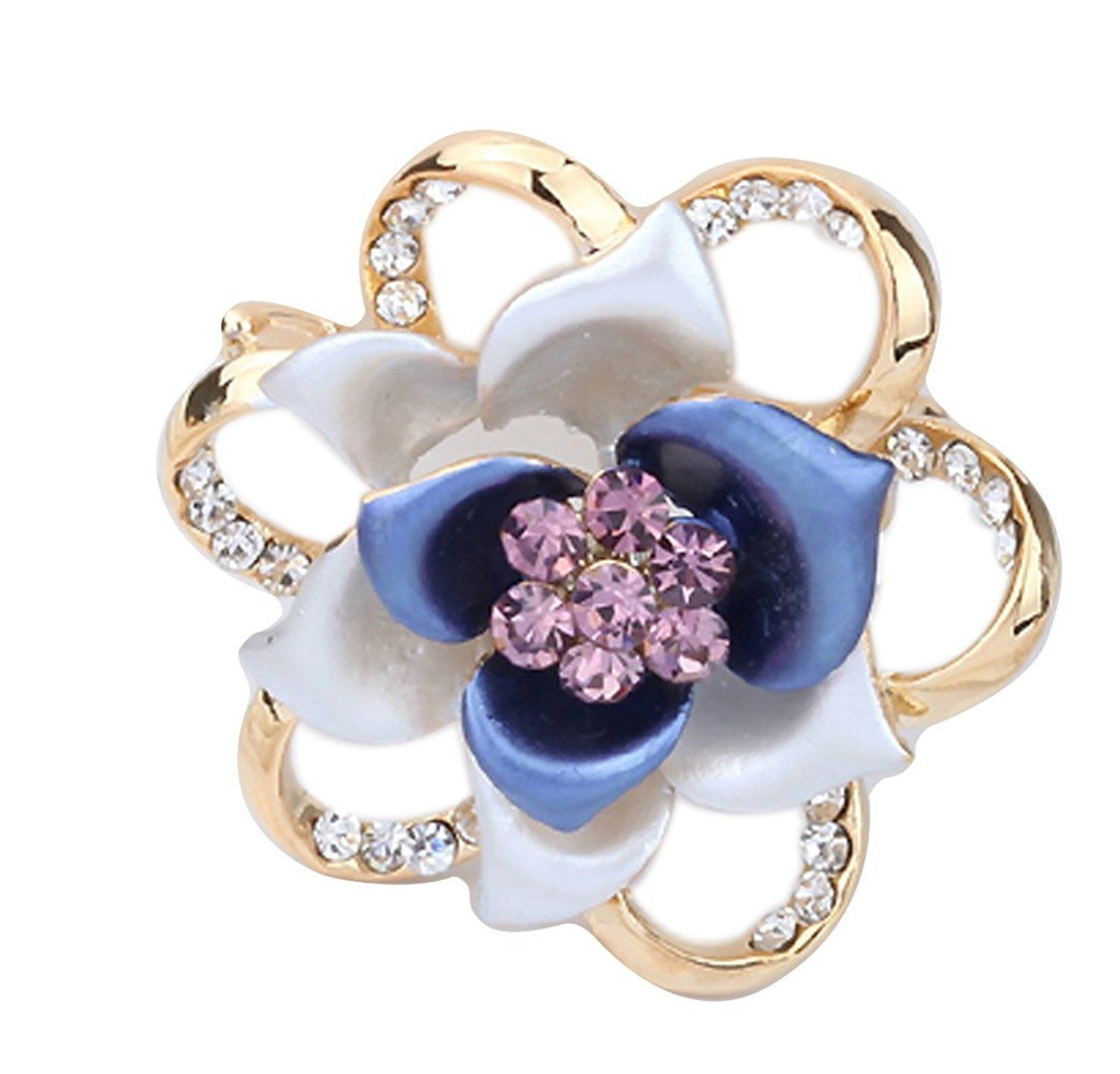 Sojewe Women Fashion Rhinestone Rose Gold Plated Purple